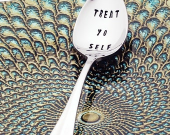 Treat Yo Self | Parks and Recreation | Stainless Steel Stamped Spoon (coffee spoon) | Pop Culture Gifts | Birthday Gift | Galentine's Day