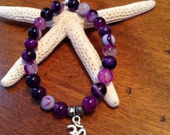 Purple Agate Om Bracelet
