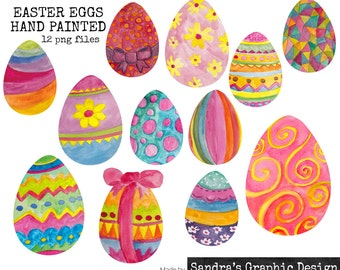 "Digital clipart: ""EASTER EGGS"" with 12 hand painted Easter eggs clipart 300 dpi png  files (5021)"