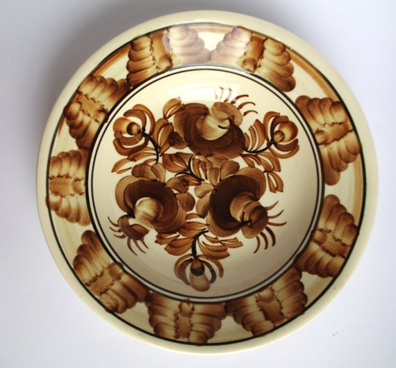 Vintage White And Brown Plate Polish Pottery By
