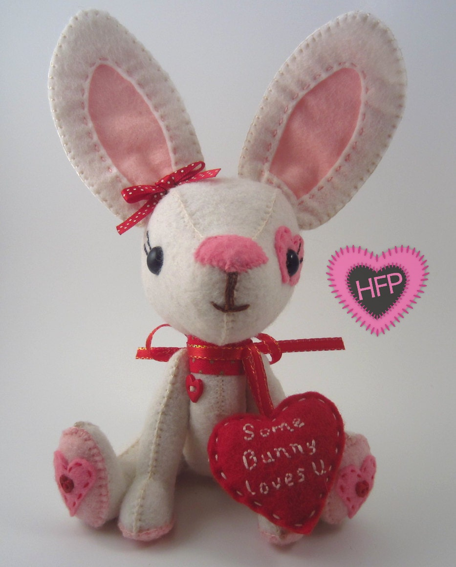 Roses Valentine S Day With Stuff Toys : Stuffed bunny valentine s day rabbit toy white