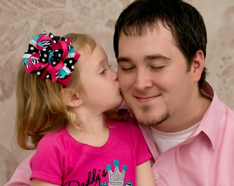Daddy's Little Diva - Girls Zebra Applique Hot Pink Shirt & Matching Hair Bow Set