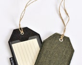 Luggage Tag, ID Tag, bag tag - handmade, repurposed, 100% pure wool tag with plastic cover and plain lined card label insert