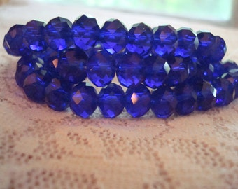 Sale! 6x8mm Cobalt Blue Faceted Rondelles. Full 17inch strand, 72pcs. Deep Translucent Cobalt Glass. No Coatings. ~USPS Ship Rates /Oregon