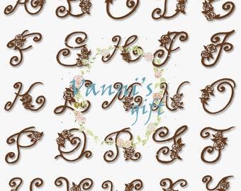 40 Floral Letters Number Alphabet Vintage Digital Download Scrapbooking Clip Art a33
