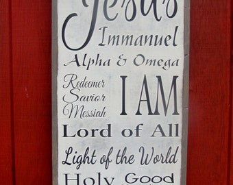 Names of God Wood Sign Christian Wooden Sign Jesus Bible Wall Art Large Wood Sign