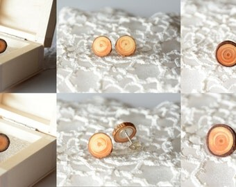 Minimalist raw mens earrings, mens jewelry, wood post earrings, orecchini uomo, men's post earrings, men's stud earring, wooden stud earring