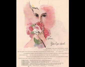 Vogue magazine ad for Elizabeth Arden eye makeup, art by R R Bouche, matted - Beauty0319