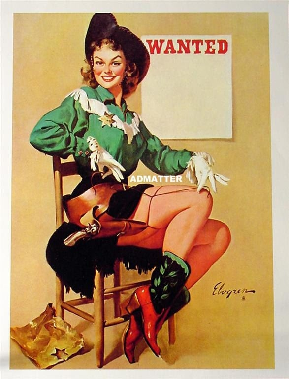 Gil Elvgren Vintage Pinup Girl Poster Sexy Cowgirl Sheriff