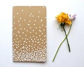 "Blank Moleskine Notebook - white polka dot patterned lined/ruled large kraft cahier journal - 5"" x 8.25"" - gift idea"