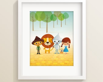 Wizard of Oz art print, illustration, kids room decor, film illustration, childrens art, nursery art print, new baby gift, kids illustration