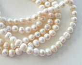 9~10mm Ivory Freshwater Pearl Beads, Natural Color, 10 Beads, Genuine Freshwater Pearls, Large Freshwater Pearls, Real Pearls