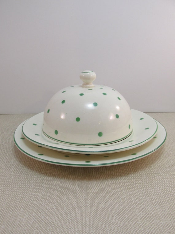 Vintage czechoslovakian china green polka dots on white 3 for Gold polka dot china