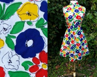 60s Shift Dress Sleeveless Floral XS