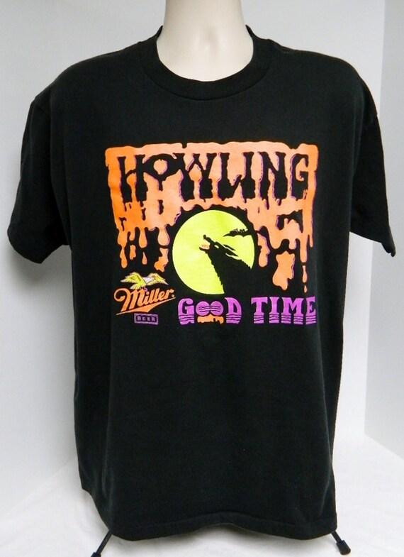 Vintage 90s howlin 39 good time miller beer t shirt xl extra for Vintage miller lite shirt