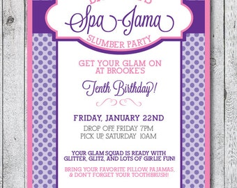 Printable Spa-Jama Slumber Party Invitation - Pink and Purple Polka Dots