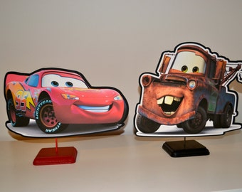 Disney CARS Lightning McQueen and Tow Mater Centerpiece Set (DOUBLE-SIDED)