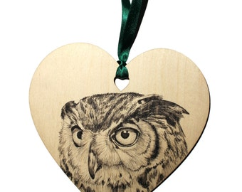 Eagle Owl bird home decoration, Unique hand drawn owl wooden heart gift, Coloured ribbon, Personalised with name, Hanging heart decoration