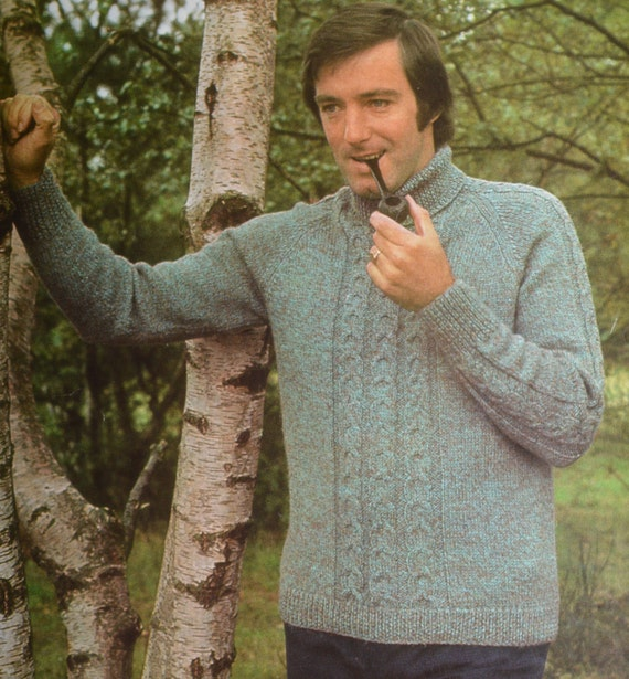 Mens cable polo neck sweater vintage knitting pattern pdf