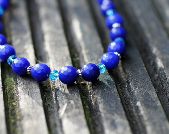Faceted Blue Sapphire Gemstone Beaded Necklace