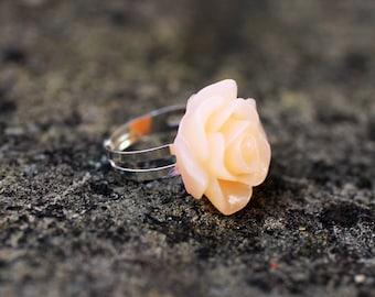 Peach Rose Flower Adjustable Ring