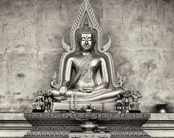 Travel Photography, Buddha, Temple, Statue, Offerings, Thailand, Fine Art Black and White Photography, Wall Art, Home Decor
