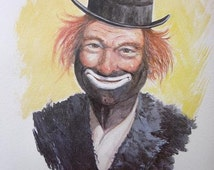 Red Skelton Clown Print   Clown Art   Vintage Art Print   W. Harold Hancock - il_214x170.686128584_cb2q
