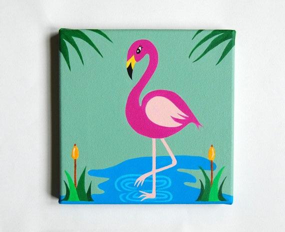 Flamingo art Pink Flamingo decor Tropical Nursery Flamingo