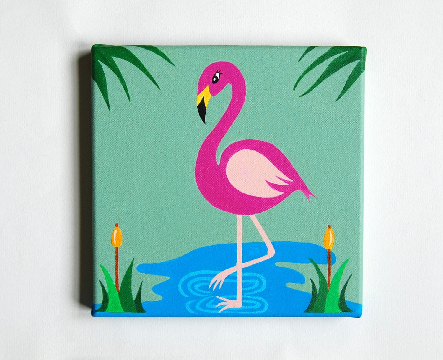 Flamingo art pink flamingo decor tropical nursery flamingo for Simple paintings to draw