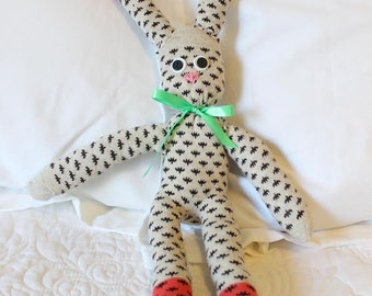 Handmade Sock Animal - Sock Bunny - Stuffed Bunny - Stuffed Animal - Sock Monkey - One of a Kind