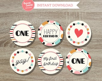 First Birthday Cupcake Toppers // 2 Inch Colorful Dots Cupcake Toppers  - One Year Old Girl Birthday Party - 1st Birthday Cupcake Toppers