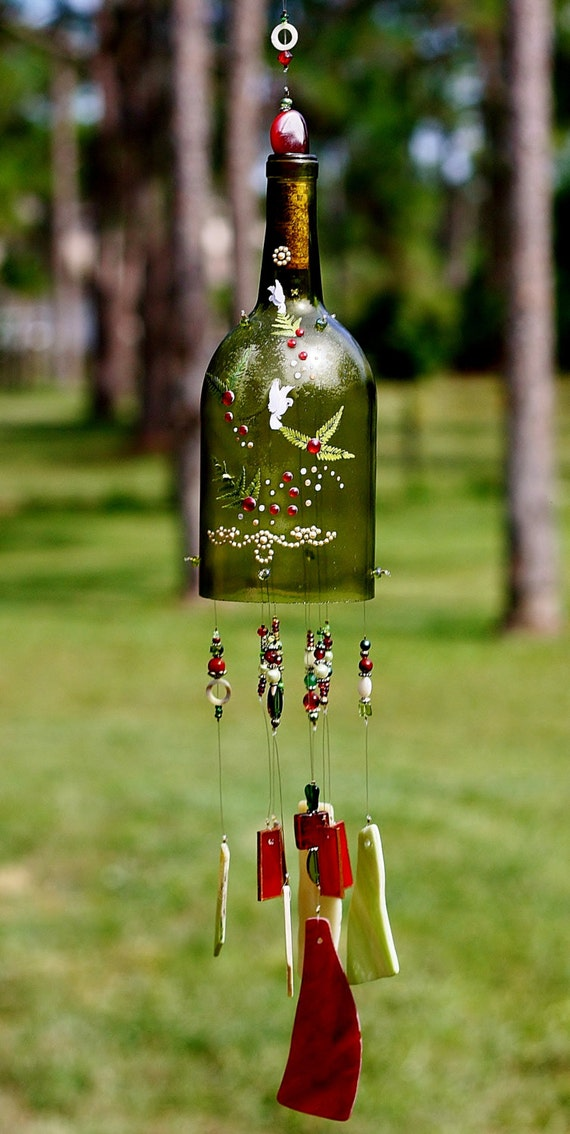 Items similar to holiday wine bottle wind chime for Things made from wine bottles