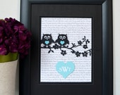 Song Lyrics Art with Owls and Monogram - Wedding Gift - Anniversary Gift - Owl Wedding - Monogram Wedding - Wedding Song Art - 3D Art