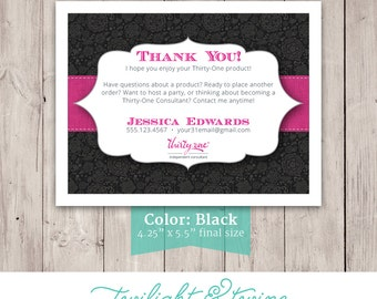 Thirty-one Thank You Card - Custom PDF, Printable, Template ( Consultant, Thirty One, 31, Vista Print )