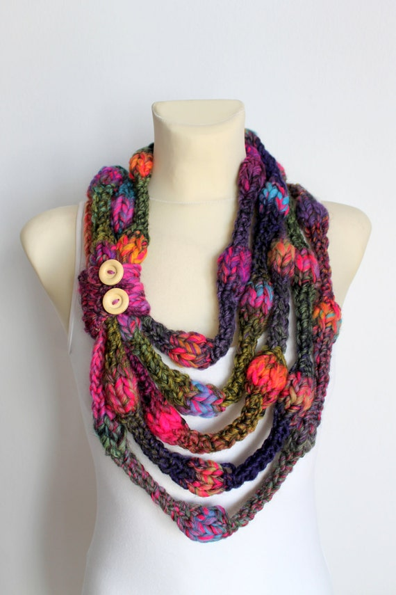 Knit Infinity Scarf - Pink & Purple Knitted Shawl - Infinity Neckwarmer - Handknit Snood - Knit Hood - Winter Thick Scarf - Cowl Scarf