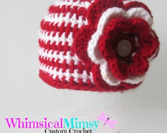 Striped Flower Beanie, Crochet Hat, Baby Girl Hat, Red and White Baby Hat, Photo Prop