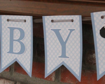 Sheep Baby Shower Banner Lamb Baby Shower Banner Blue and White Sheep Banner Blue Polka Dot Baby
