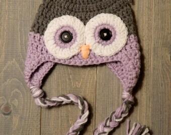 Grey and Purple Crochet Owl Earflap Hat, owl hat, winter hat, item #206