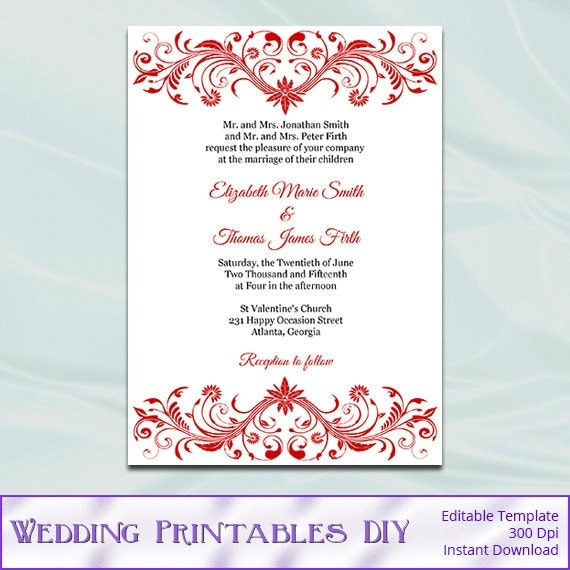 Red Wedding Invitation Template Diy Elegant Bridal Shower