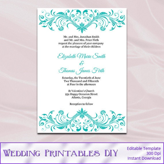 Turquoise Wedding Invitations Template Diy Birthday Bridal