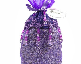Lavender Sachet, Beaded with Lace
