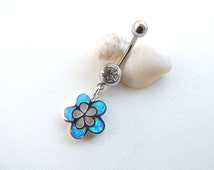 Hibiscus Flower Belly Button Ring, Opal Belly Rings, Flower Navel Ring, Silver Belly Rings, Jeweled Navel Barbell. 404