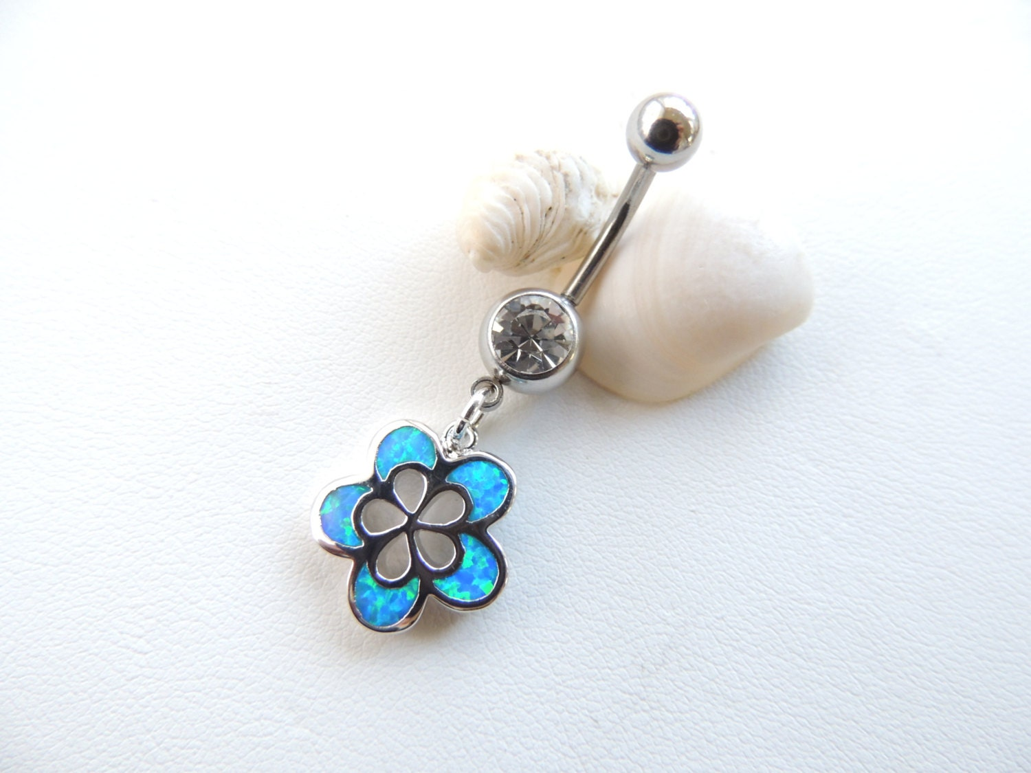Hibiscus Flower Belly Button Ring Opal Belly Rings Flower