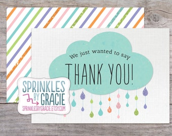Instant Download Printable Rain Drop Thank You Cards PDF