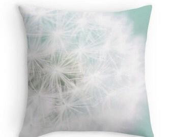 Dandelion Pillow, Decorative Pillow, Aqua, Throw Pillow Cover, Dreamy Nature Photography, 16x16, 18x18, 20x20