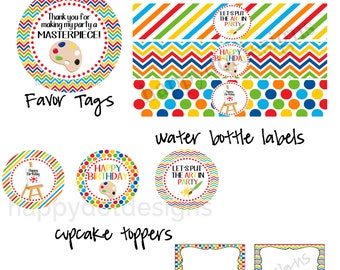 Printable Art Birthday Party Package - Cupcake Toppers, Table Tents, Favor Tags and Water Bottle Labels