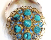 Vintage Chinese Export Sterling Silver and Turquoise Brooch,Gold Wash, Enamel, 1940s to 1960s