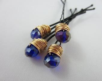Crystal Hair Pins - Gold Crystal Hair Pins - Cobalt Hair Pins - Blue Crystal Hair Pins - Wedding Hair Accessories - Bridal Hair Pins