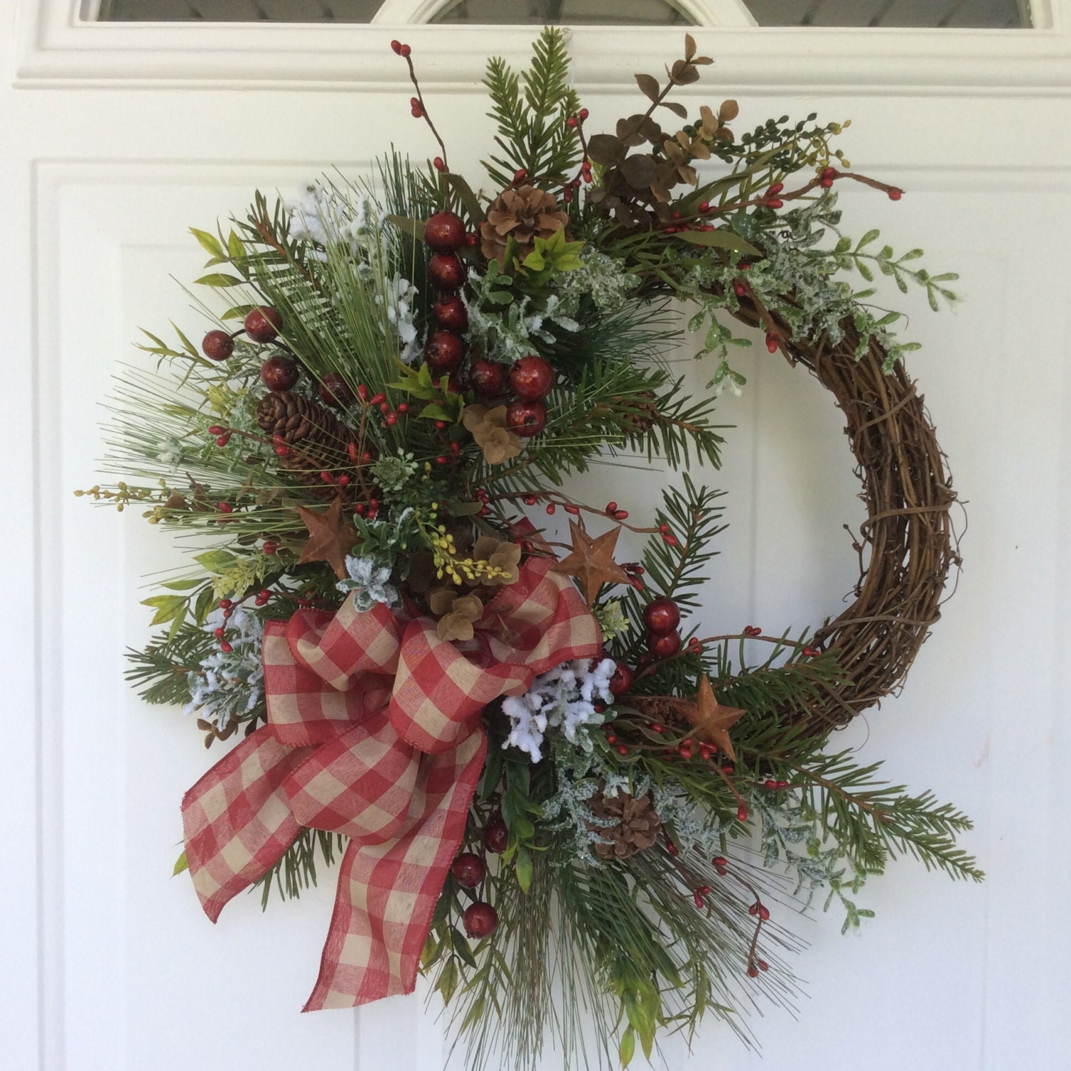 Christmas wreath rustic holiday winter