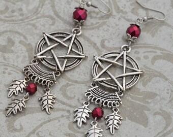 Natural Magick - Pagan earrings -  Pentagram Earrings Silver and Burgundy